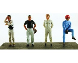 BOX SET 4 DRIVERS JIM CLARK-FANGIO-PEDRO RODRIGUEZ-JO SIFFERT - LEMANS MINIATURES. ESCALA 1:43