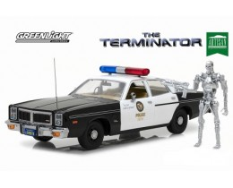 DODGE MONACO 1977 METROPOLITAN POLICE W/ T-800 ENDOSKELETON THE TERMINATOR 1984 - GREENLIGHT
