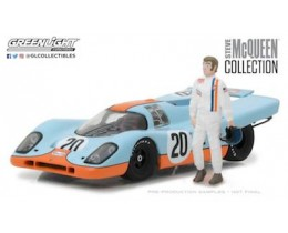 STEVE McQUEEN COLLECTION (1930-80) - 1970 PORSCHE 917K GULF OIL WITH STEVE McQUEEN FIGURE - ESCALA 1:43 GREENLIGHT