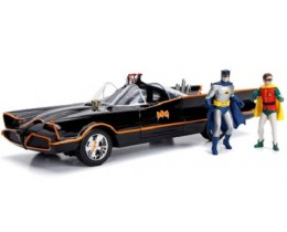 BATMOBILE CLASSIC TV SERIES 1966 INCLUYE FIGURAS DE BATMAN Y ROBIN LAS LUCES ENCIENDEN - JADA