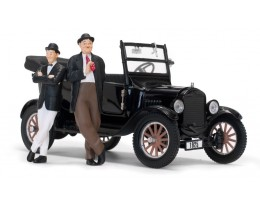 1925 FORD MODEL T BLACK WITH LAUREL AND HARDY FIGURINES - SUNSTAR